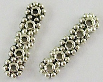 Tibetan 5 Hole Nickel Free Daisy Style Beaded Spacer Bar